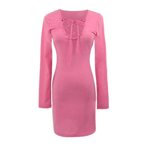 Moda mujer vestido ajustable correa Encaje Sexy hasta vestido largo manga Bodycon Mini vestido azul/color de rosa