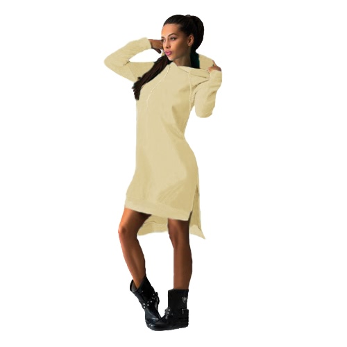 Nueva moda mujer sudadera vestido largo con capucha manga bolsillos cambio vestido suéter Casual Top