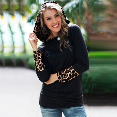 Nueva moda mujeres sudadera con capucha camiseta leopardo botón encapuchado negro de Tops de manga larga de cuello