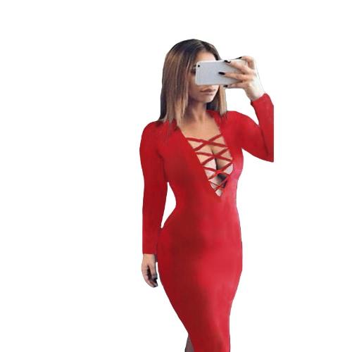 Vestido de las mujeres de la nueva manera de inmersión escote V cruzado de Criss correas delanteras ajustado de manga larga atractivo apto Midi de una sola pieza