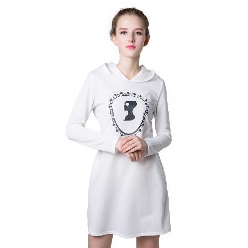 Neue Mode Damen Sweatshirt Kleid Print lange Ärmel Taschen-Shift Kleid Pullover Pullover Hoodies Pullover