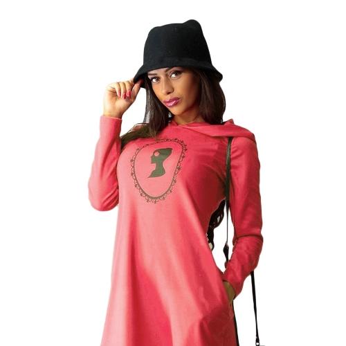 Nova moda mulheres vestido de camisola longa manga bolsos Shift vestido Jumper Hoodies pulôver de impressão