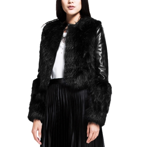 Neue Mode Frauen Kunstpelze Mantel PU Leder Langarm Motorrad Jacke Oberbekleidung schwarz