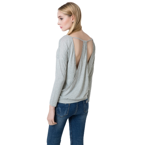 Sexy Backless Round Neck Long Sleeve Slimming Soft T-shirt dla kobiet