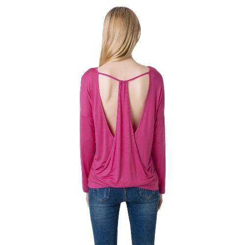 Nueva moda mujer suelta la camiseta Sexy abierto detrás redondo cuello manga larga blusa suave Tops t
