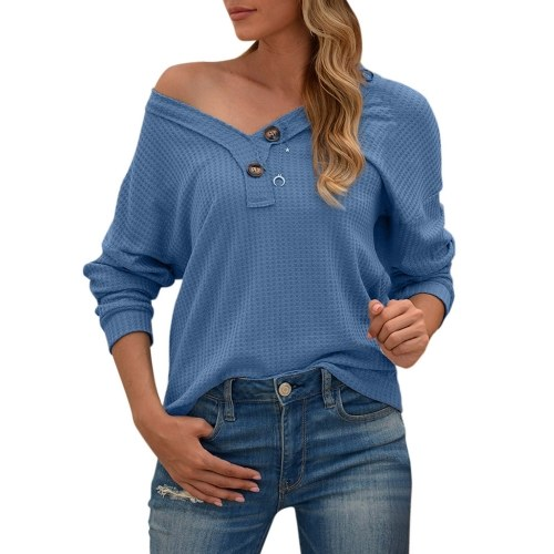 Women Long Sleeve T-Shirt Waffle Knit Tops Hollow out V-Neck Batwing