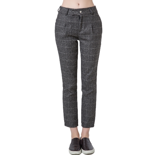 Nova moda mulheres calças xadrez imprensa impressão Stud encerramento Slant bolso calças soltas Causal cinza