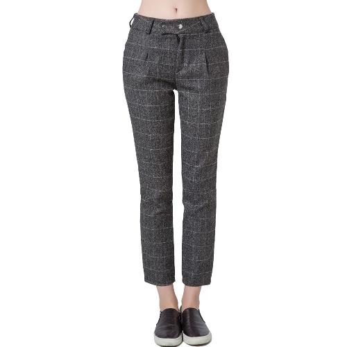 Nuova moda donne pantaloni stampa stampa Plaid Stud chiusura Slant Pocket causali pantaloni larghi grigio