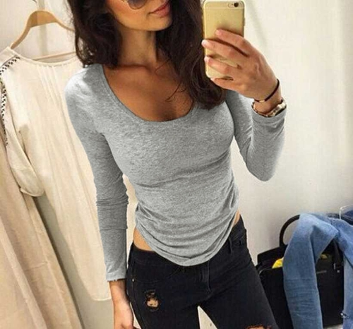 Moda mujer camiseta O cuello manga larga elástica casuales deporte suave Tops camiseta gris