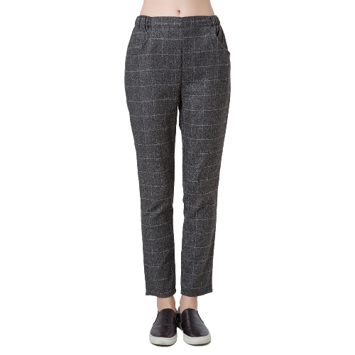 Nuova moda donna Harem Pants Verifica Plaid Tartan elastico in vita tasche causale pantaloni larghi Grey