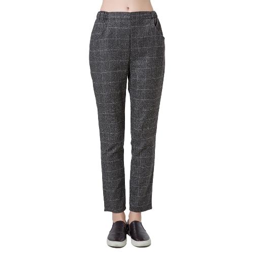 Nueva moda mujeres harén pantalones Check cuadros tartán elástico en la cintura bolsillos pantalones sueltos Causal gris