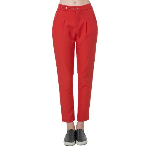 Nueva moda mujeres sólido pantalones pantalones sueltos de prensa Stud cierre inclinado bolsillo dama Causal rojo/negro