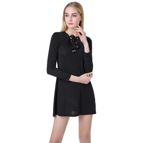Femme sexy Mini robe V cou manches longues lacez vers le haut de robe occasionnelle Slim vert/noir