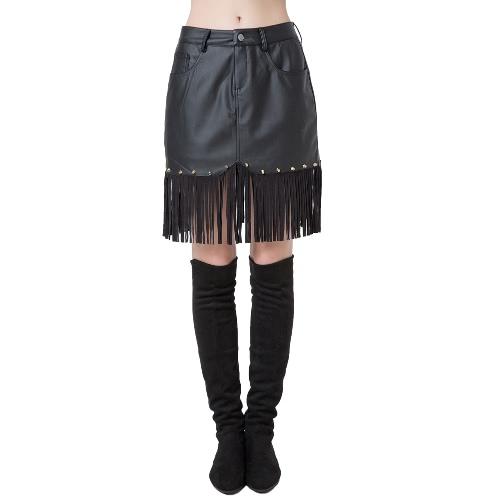 Nueva mujer de moda PU falda botón bolsillo delantero remaches borlas cintura alta falda corta negro