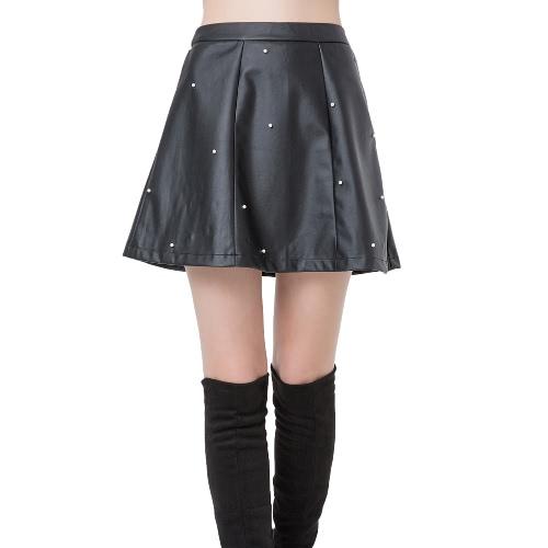 Nuova moda donna PU cuoio gonna Perline Cerniera posteriore vita alta sottile pieghe gonna a-line Black