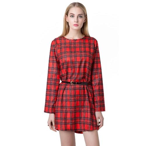 Neue Frauen Minikleid Karo Check Tartan Print Zipper O Neck Langarm Jahrgang Office Kleid Rot/Kaffee