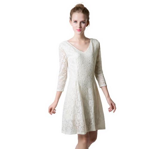 Nova moda mulheres vestem Floral Lace V decote manga longa sólido magro forma elegante uma peça bege