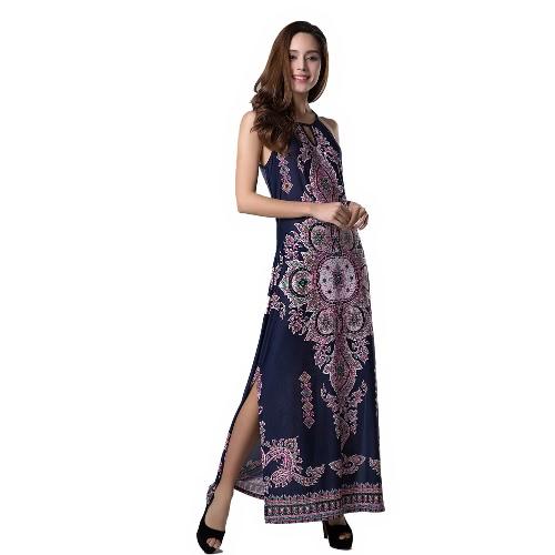Sexy mujeres largo vestido Floral Print ahueque hacia fuera caído sisas Split dobladillo Bodycon vestido azul oscuro