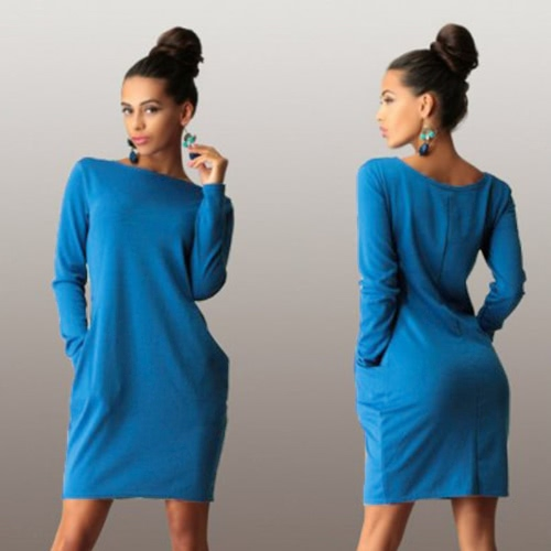 Nueva moda mujer vestido bolsillos ronda cuello manga larga sólida forma Casual otoño vestido suelto