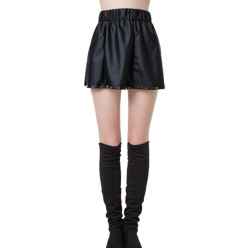 Chic Women PU Leather Rivet Elastic Waistband A-Line Mini Skirt