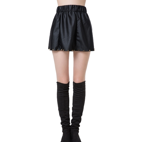 Europa mujeres Sexy Mini falda PU cuero remache pretina elástico Color sólido OL vestido Clubwear Casual faldas negro