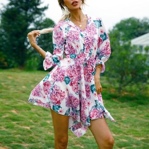 Robe à fleurs pour femmes à demi-manches irrégulières à col en V et taille ceinturée Mini robe décontractée