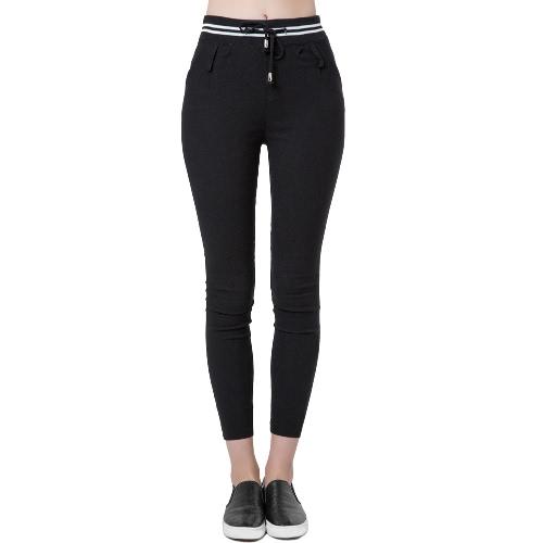 Nova moda mulheres Casual calças cintura elástica Drawstring lápis Slim calças calças preto/branco