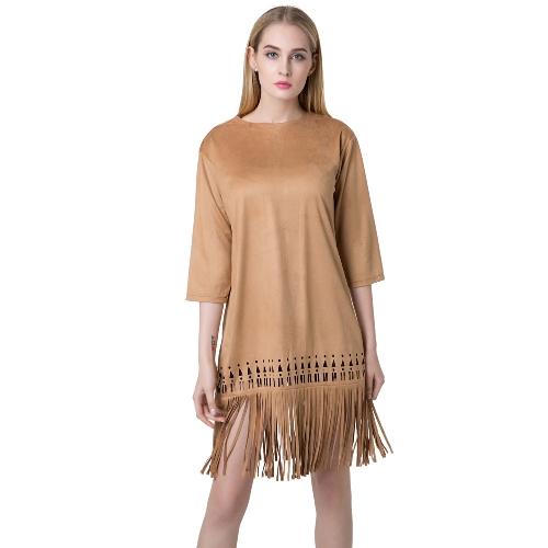 Nova moda mulheres vestem camurça do falso redondo pescoço fecho traseira Tassel Hem vestido de cor sólida