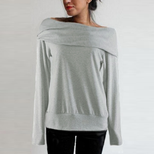Moda mulheres soltas camisola fora ombro Slash pescoço manga longa Outono Inverno casaco quente no máximo cinza e café