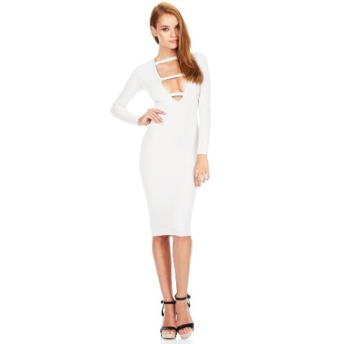 Moda mujer Sexy vestido de profundo escote en v delantero correa manga larga Bodycon-Vestido fiesta