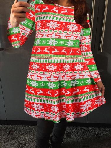 Novas mulheres Mini vestido contraste cor padrão impressão O pescoço manga longa solta Casual Festival partido t-shirt vestido vermelho