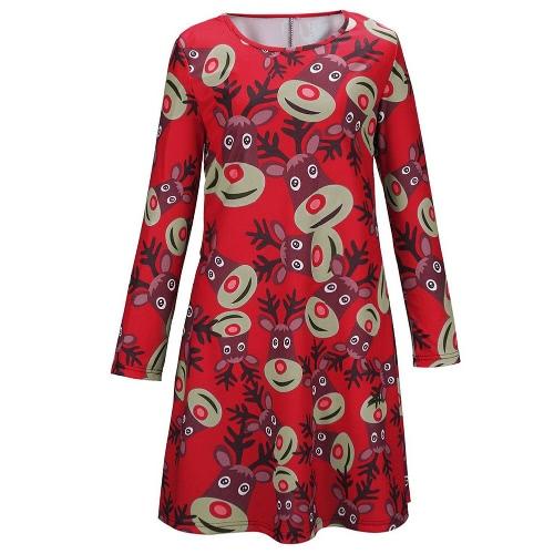 Nova moda mulheres Mini vestido renas imprimir cor bloco redondo pescoço longo da luva uma peça da bonito verde/vermelho/preto