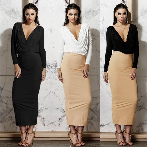 TOMTOP / Mulheres Sexy vestido duas peças V profundo pescoço plissado manga longa colheita superior cintura alta saia nova conjunto preto/branco/bege