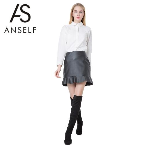 Europa Sexy Frauen Rock PU Leder Farbe Mini Rüschen Saum Röcke OL lässig schlanke Clubwear schwarz