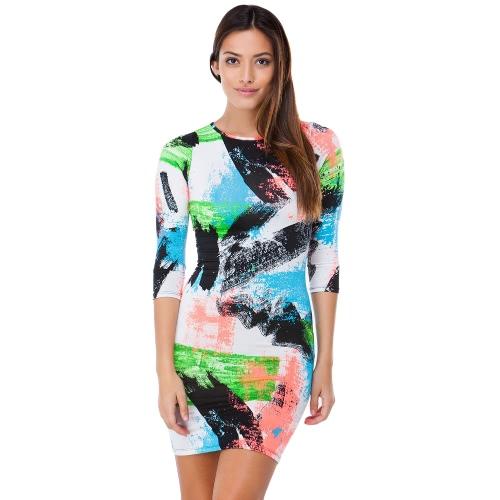 New Fashion Women Dress Abstract Brushstroke Print Round Neck 3/4 Sleeve Bodycon Dress Green