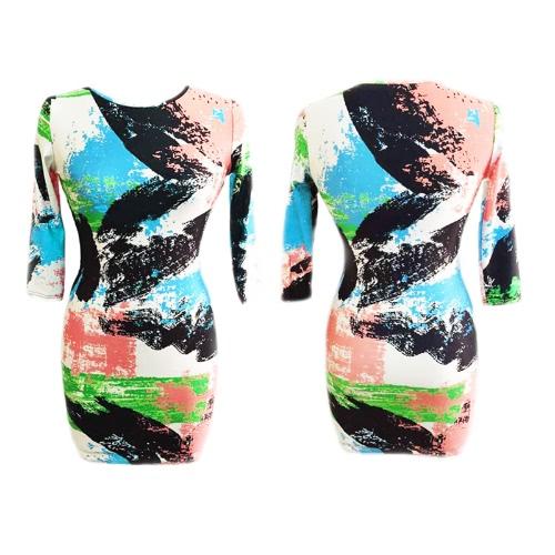 TOMTOP / Nova moda mulheres vestem abstrato Brushstroke Print redondo pescoço 3/4 manga Bodycon vestido verde
