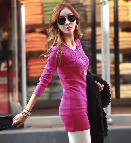 Nueva mujer coreana larga camiseta Rhinestone decoración mangas largas cuello O Tops básicos rosa/negro/oscuro verde