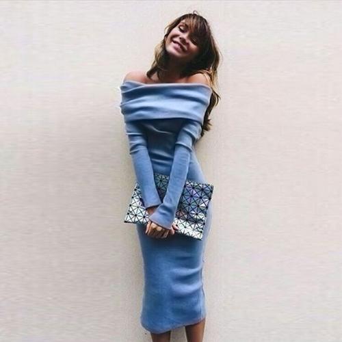 Neue Sexy Frauen Solid Kleid Slash Neck Langarm Bodycon Party Clubwear blau