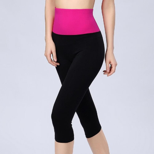 Casual Capris Sports Leggings with Contrast Wide Elasticed High Waist for Women