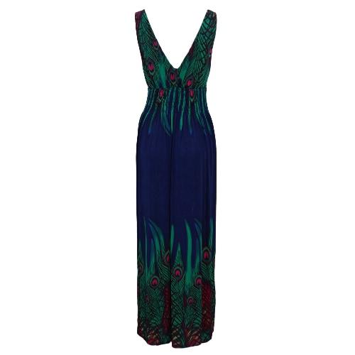 Sin mangas de cuello de las nuevas mujeres de Bohemia del vestido largo V Casual vestido de la playa Vestido de tirantes Naranja / Negro / Azul