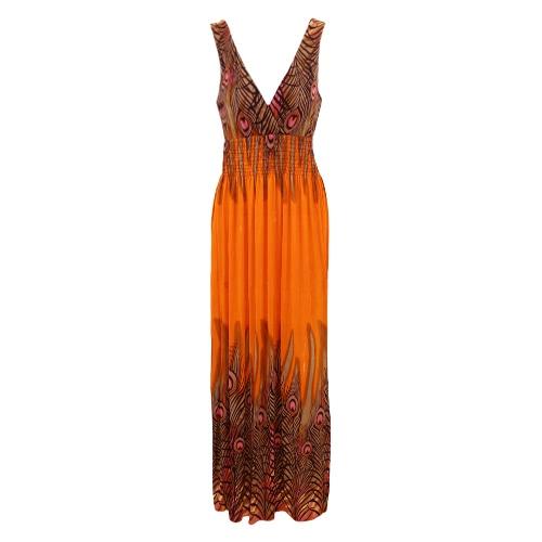 New Mulheres Bohemian vestido longo V Neck mangas Casual Beach Dress Vestido de Verão laranja / preto / azul
