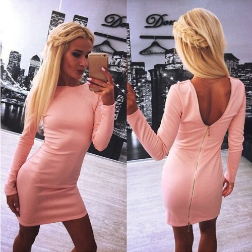 New Europe Women Sexy Dress Back Zipper Long Sleeves O-Neck Solid Color Bodycon Mini Pencil Dress Black/Red/Pink