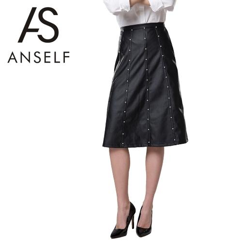 Nueva moda mujer media falda PU cuero altura cintura rebordear cremallera decoración fijación Slim Fit negro
