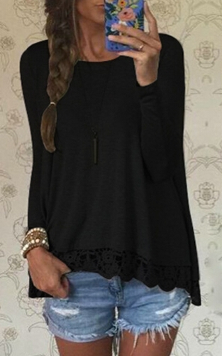 Nova moda mulheres camiseta Casual redondo pescoço manga longa Crochet Lace Splice bainha Irregular Top Tee