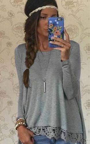 Nueva moda mujer camiseta ocasional ronda cuello manga larga Crochet encaje empalme dobladillo Irregular superior t