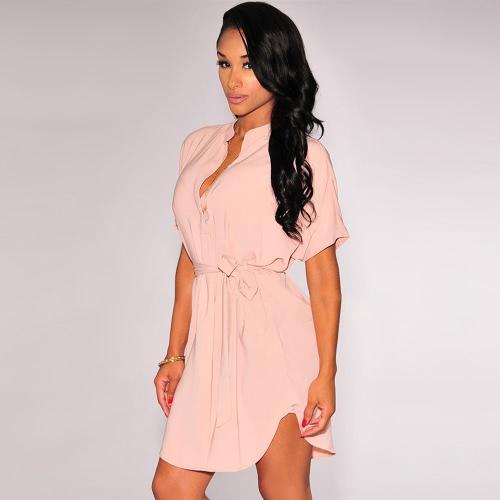 Stylish V Neckline Short Sleeve Curved Hem Belt Solid Casual Shirt Dress for Women