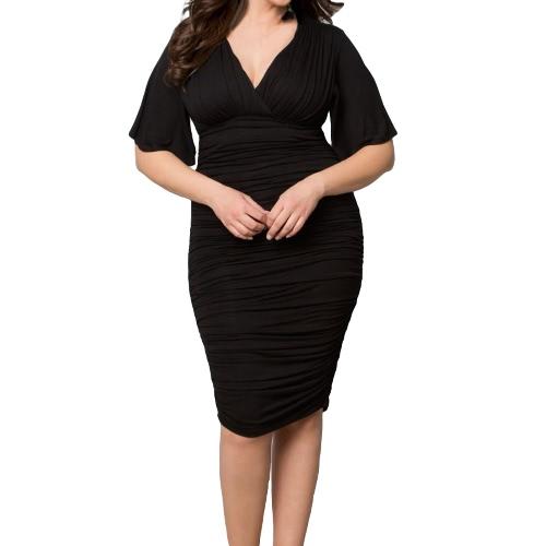 Nuevo Sexy mujer Bodycon vestido drapeado V cuello fruncida llamarada mitad manga Plus tamaño Vestido de Cóctel de fiesta