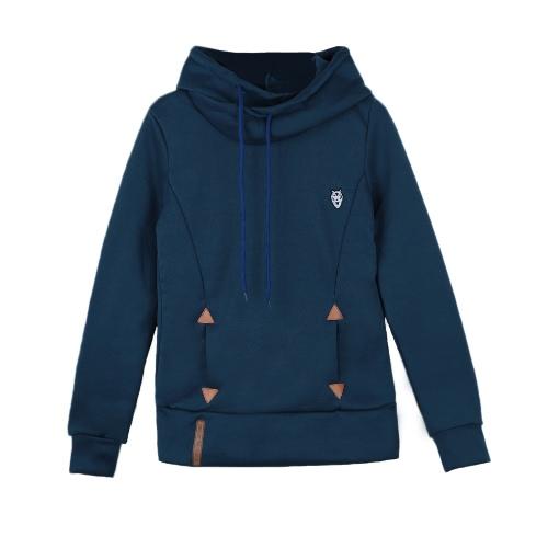 La nueva manera con capucha Sudaderas con cordones bolsillos jersey sudadera con tapas flojas