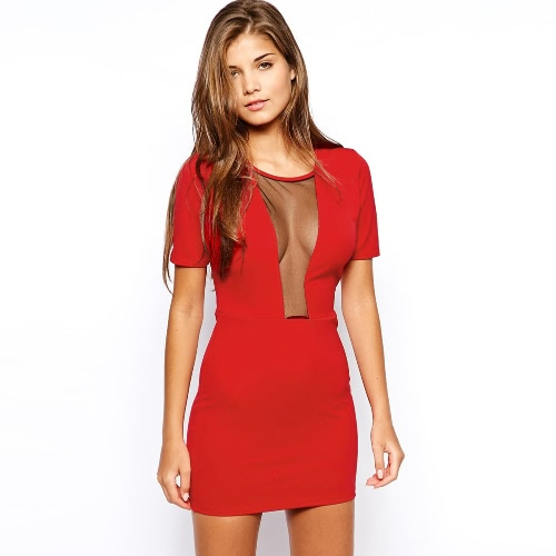 Neue Sexy Frauen Minikleid Plunge Mesh Splice Runde Hals Kurzarm schlank Sexy Kleid Rot