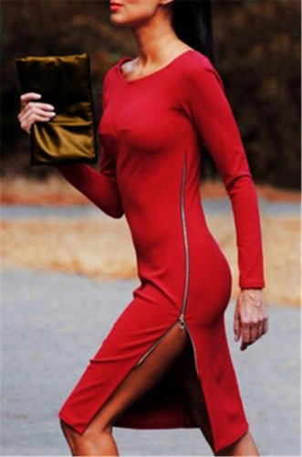 Sexy Women Dress Side Split Plunging Zipper O-Neck Long Sleeve Bodycon Dress Red / Dark Blue